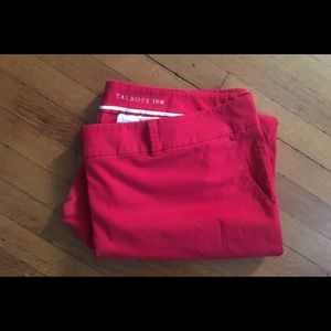 Talbots Red daily ankle pants 18w